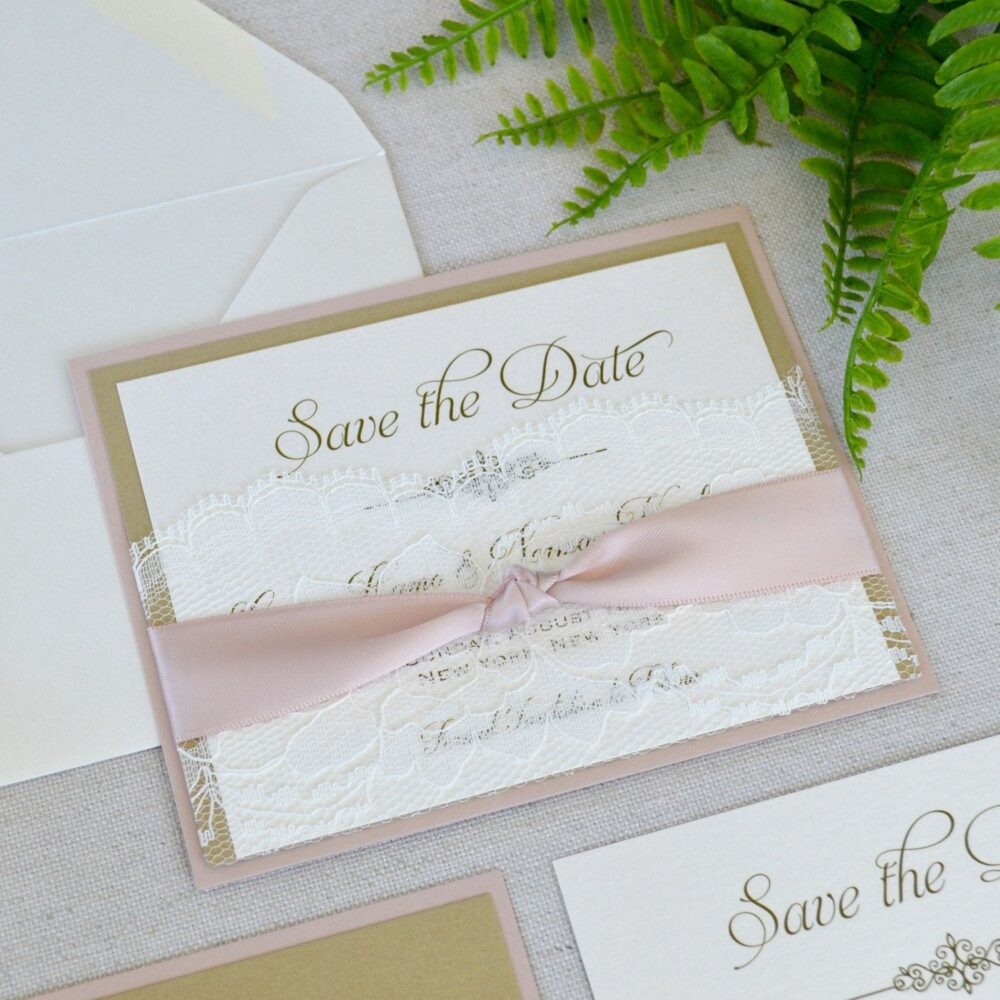 Lace Pocket Save The Date - Gold & Blush The Card With Ivory Lace Pocket & Antique Pink Ribbon