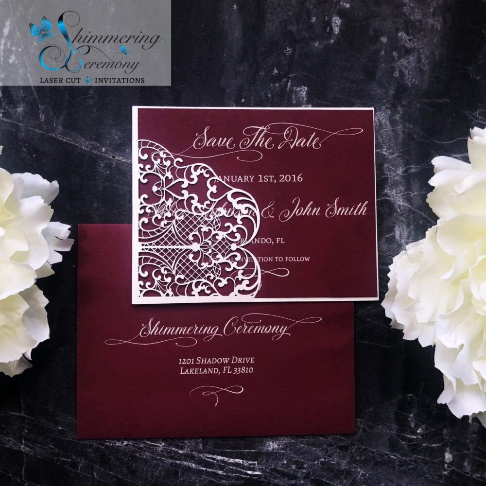 Lovely Lace Save The Date Card Laser Cut Pocket For Wedding Event