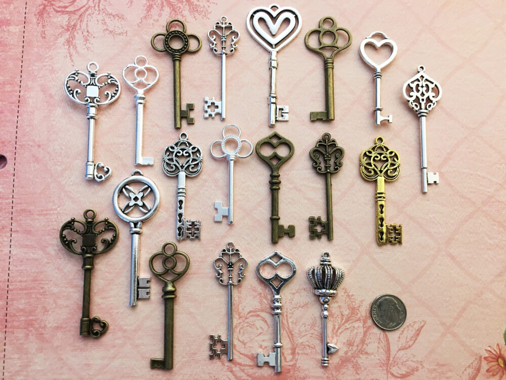 Replica Keys Of Life Fancy Skeleton Lock Vintage Jewelry Antique Wedding Invitation Announcement Save Date Crafts Steampunk