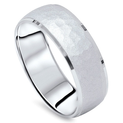 Mens 950 Platinum 7mm Hammered Wedding Ring Band New, Platinum, Band, Gifts For Him, Anniversary