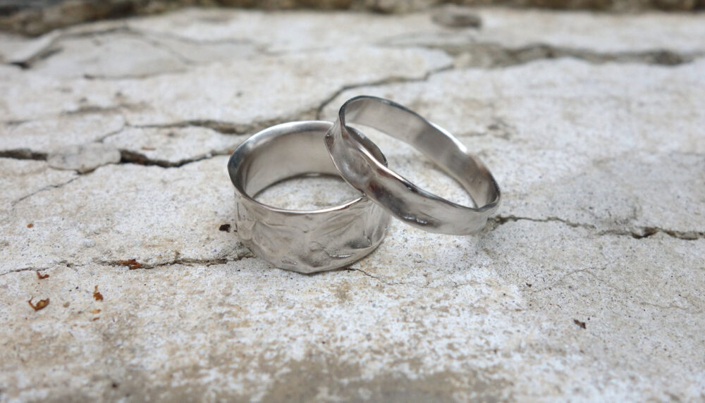 Silver Polished Wedding Ring Set His & Her, His Hers Band, Wedding Band Hers, Solid Platinum