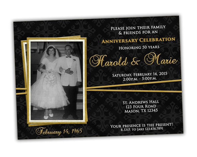 Elegant 50Th Wedding Anniversary Party Invitations - Gold & Black Vow Renewal Photos