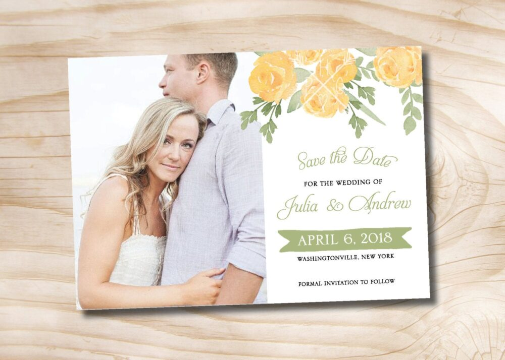 Yellow Rose Watercolor Floral Wedding Photo Save The Date - Printable Digital File Or Printed Invitations