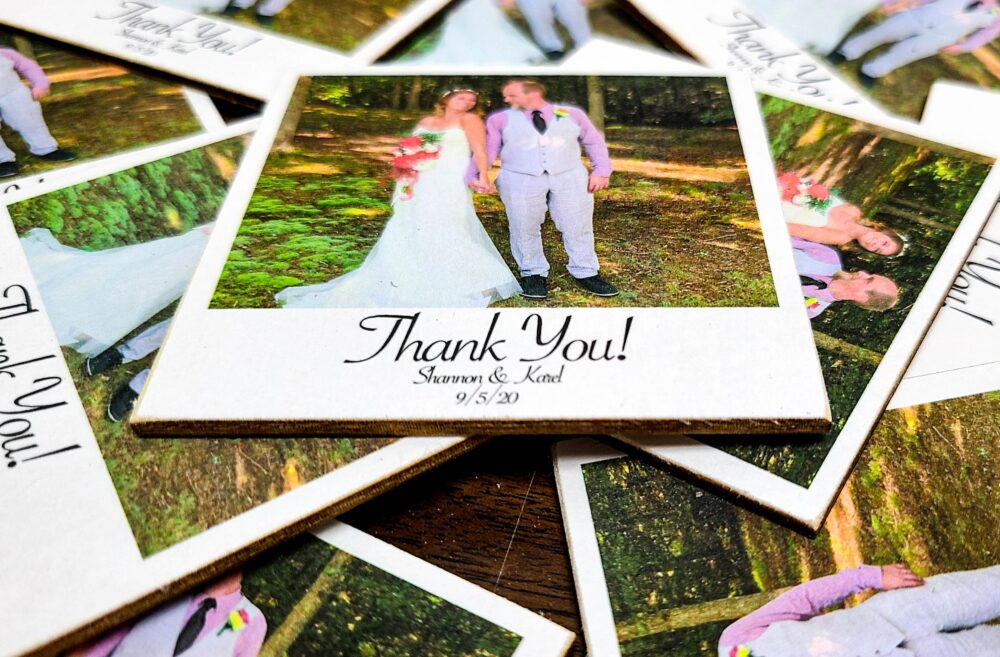 Wooden Wedding Favor Magnets, Polaroid Photo, Unique Magnet For Wedding Favors Or Invites