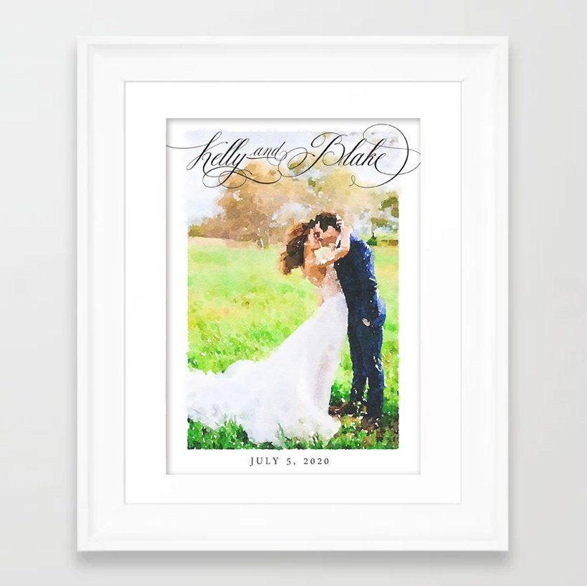 Wedding Gift - Watercolor Wedding Announcement Invitation Custom Photo