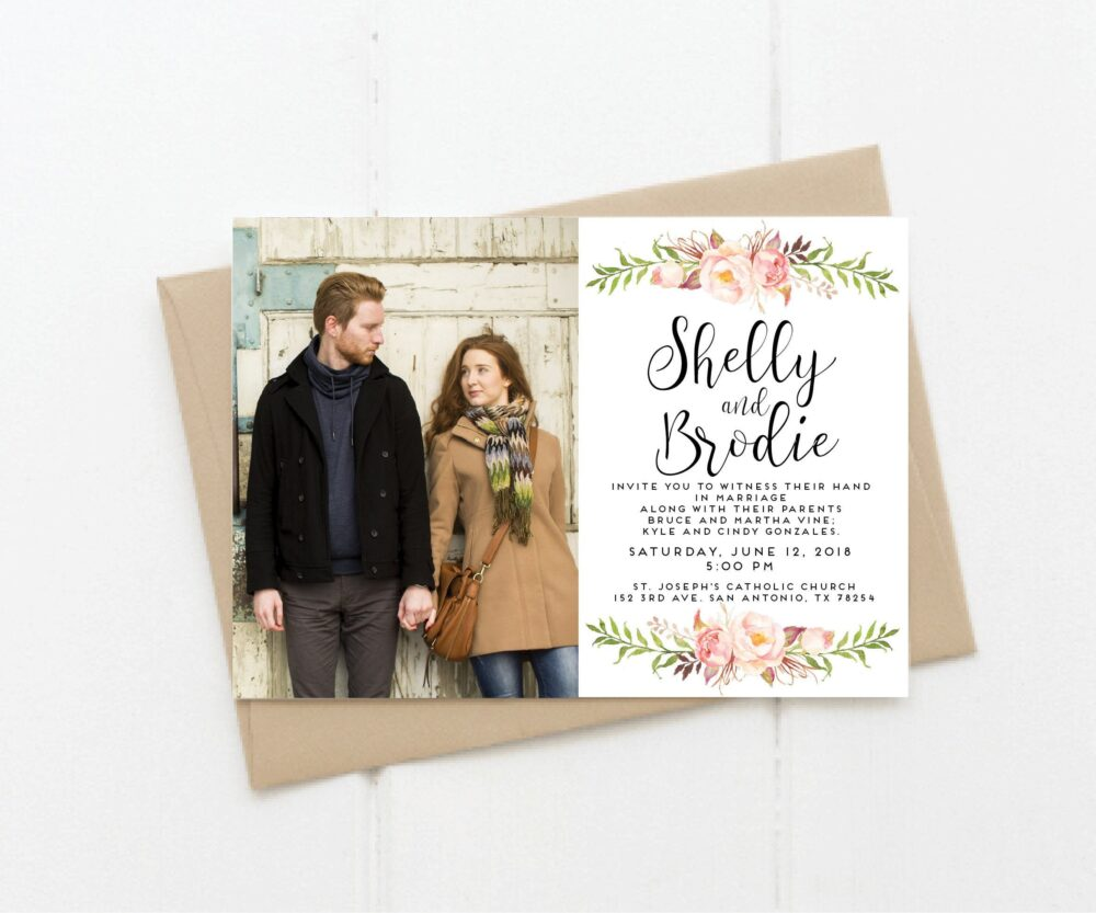 Wedding Invitation-Digital File-Photo Card-Digital Invites-Pink Flower & Gold Wedding-Watercolor Flowers-5x7-Wedding Suite Available