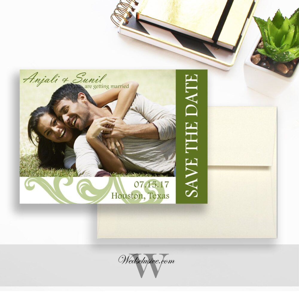 Photo Save The Date Cards, Modern Wedding Announcement Floral Design, Invites