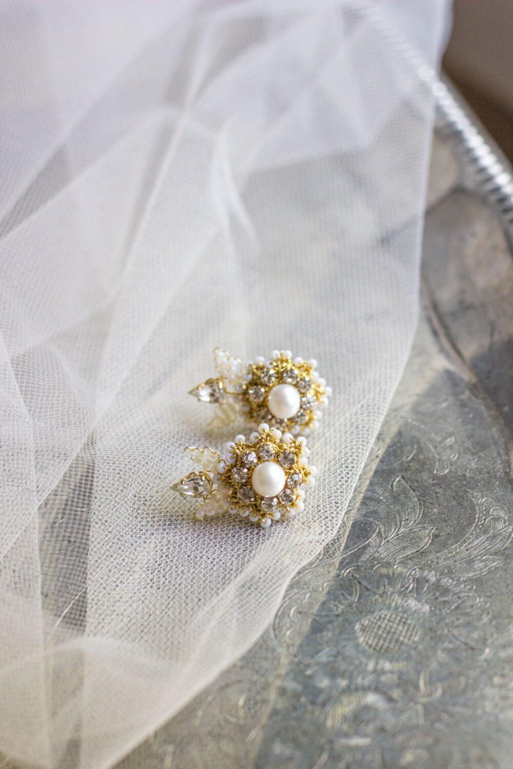 Pearl Crystal Wedding Stud Earrings | Gold Climber For Bride Vintage Style Bridal Studs & Jewelry