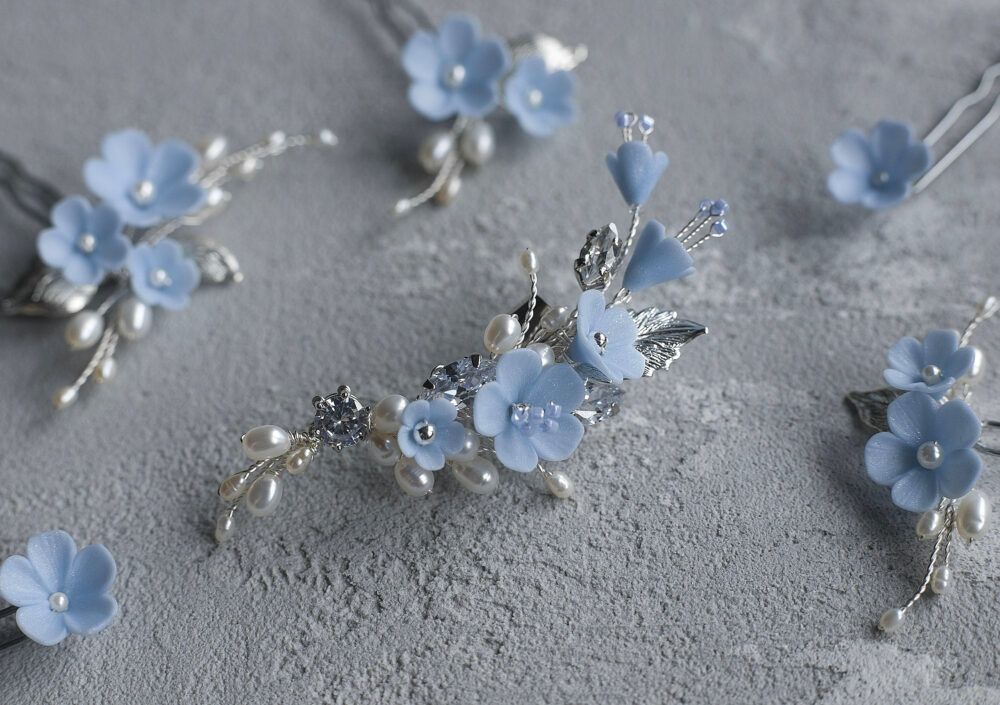 Pearl Blue Ear Cuff, Wedding Floral Climber, Bridal Serenity Crystal Piece, Flower Pale Cartilage Earring, Bride Light Periwinkle Jewel