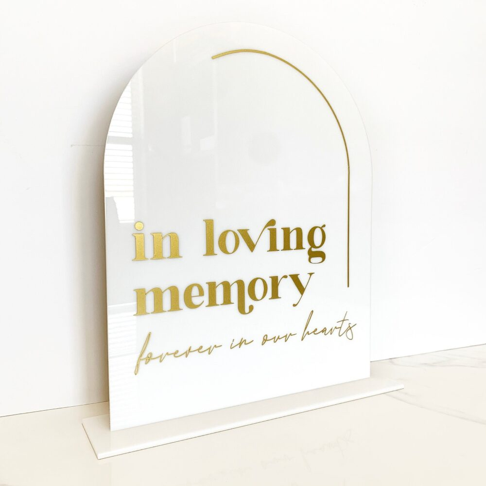 In Loving Memory Sign, Acrylic Table Arch Memory Sign Wedding Decor, Signs