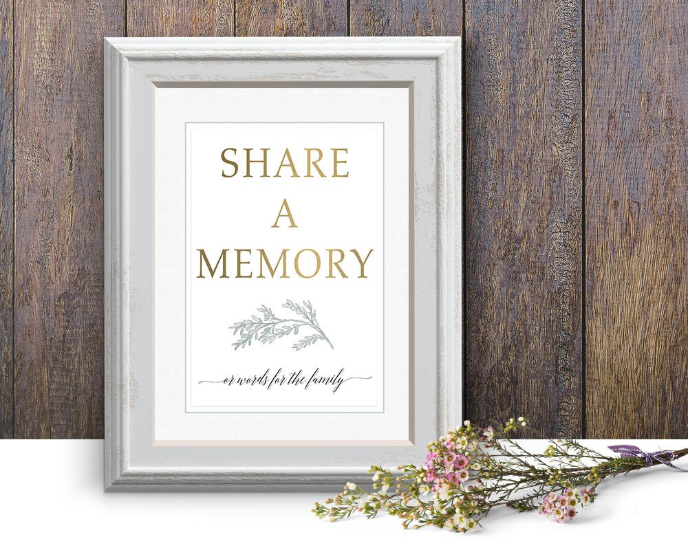 Share A Memory Sign Green, Funeral Sign, Editable Memorial Printable Template, Service