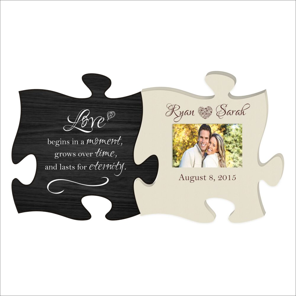 """Personalized Anniversary Photo Frame, Wedding Picture """"Love Begins in A Moment, Grows Over Time & Last For Eternity"""" Great Gift"""