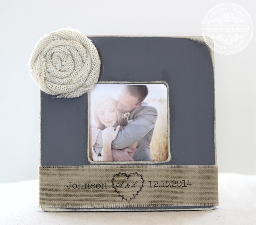 Wedding Personalized Picture Frame Gift Engagement Present Burlap Rustic Country Distressed Aged