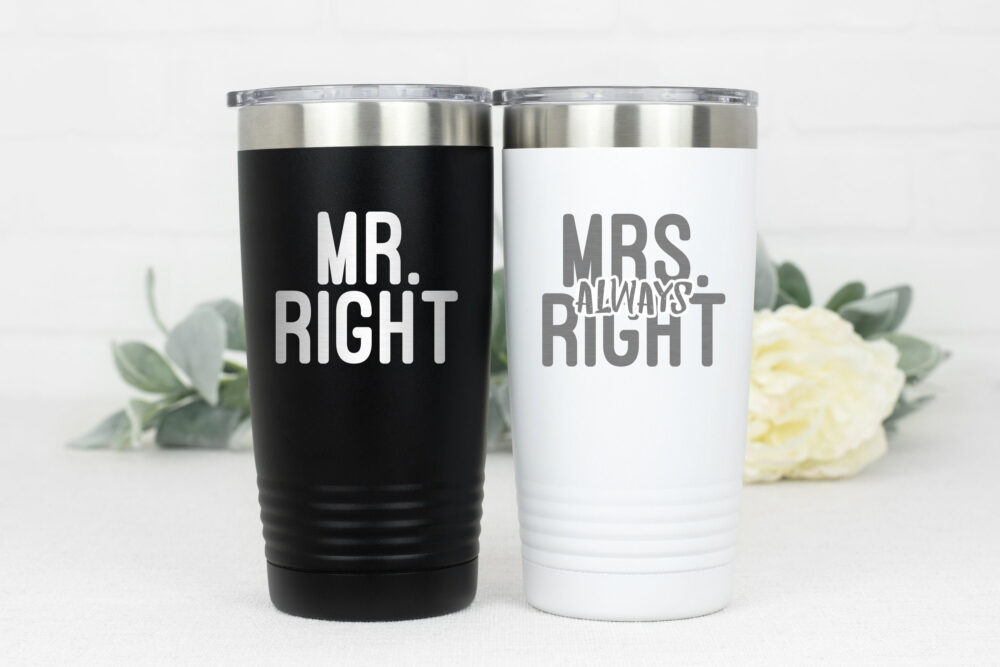 Mrs Always Right, Wedding Tumblers, Gift, Funny Coffee Mugs For The Couple, Shower, Bride Mr Right
