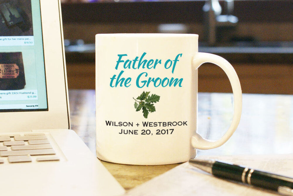 Wedding Coffee Mug Cup - Father Of The Groom Custom Color Personalized Gift Present Party Bridal With Date & Couple's Name