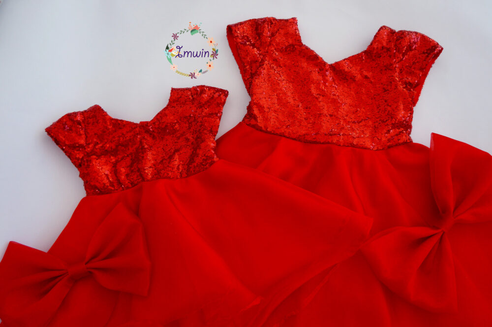 Girls Christmas Dress Red Sequin Valentine Outfit Holiday Party Toddler Special Occasion Dress Baby Girl