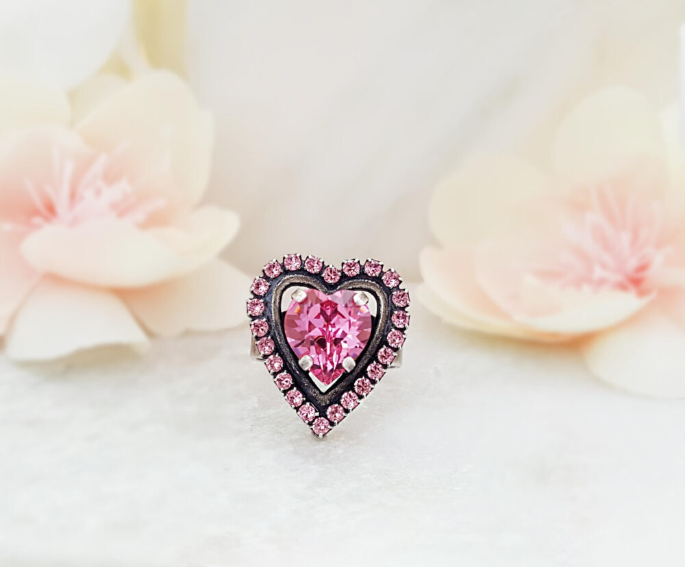 Pink Heart Ring, Big Swarovski Rose Crystal Cluster, October Tourmaline Birthstone, Romantic Jewelry Gifts For Women, Adjustable Band R2072B