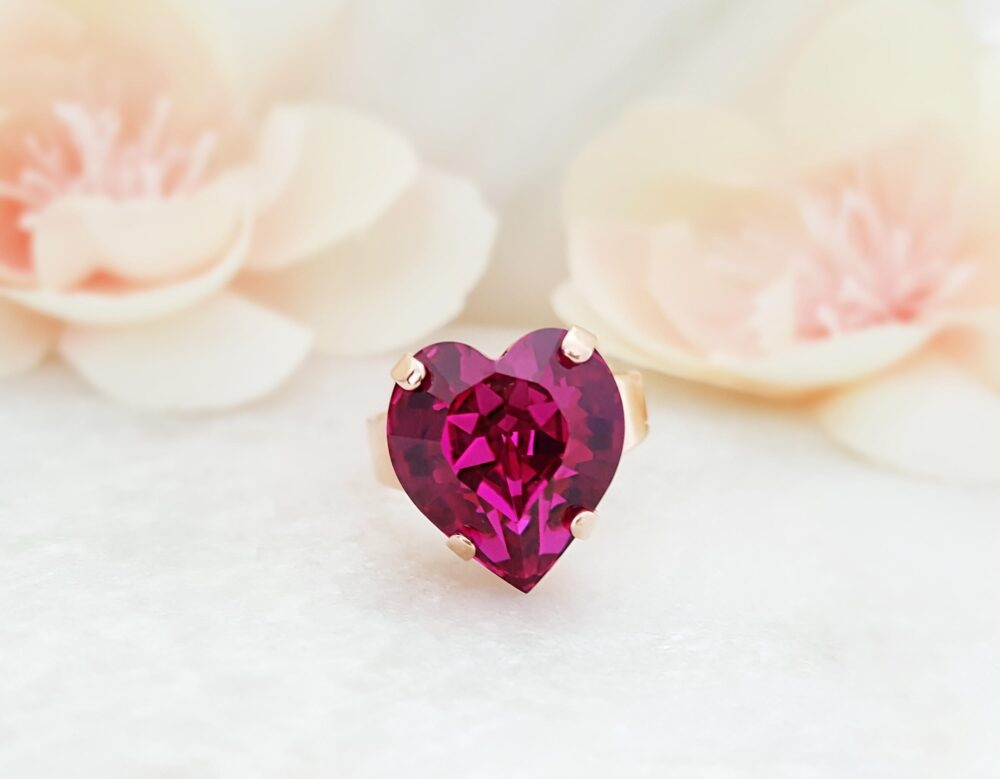 Hot Pink Heart Ring, Rose Gold Heartshaped Swarovski Crystal, Fuchsia Jewelry Gifts, Chunky Ladies Magenta Crystal Heart Promise Ring R4015