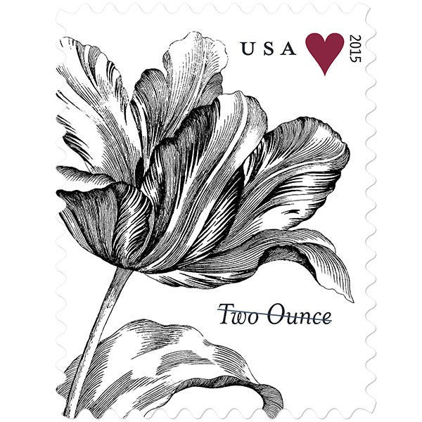 10 Botanical 75 Cent Wedding Postage Stamps Unused Two Ounce Rate Black & White Flower Mailing Invitations