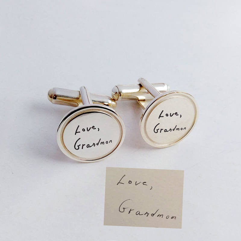 Signature Cufflinks, Handwriting Wedding Cufflinks, Personalized Handwriting Cufflinks, Handwritten Groom Cufflink, Father Of The