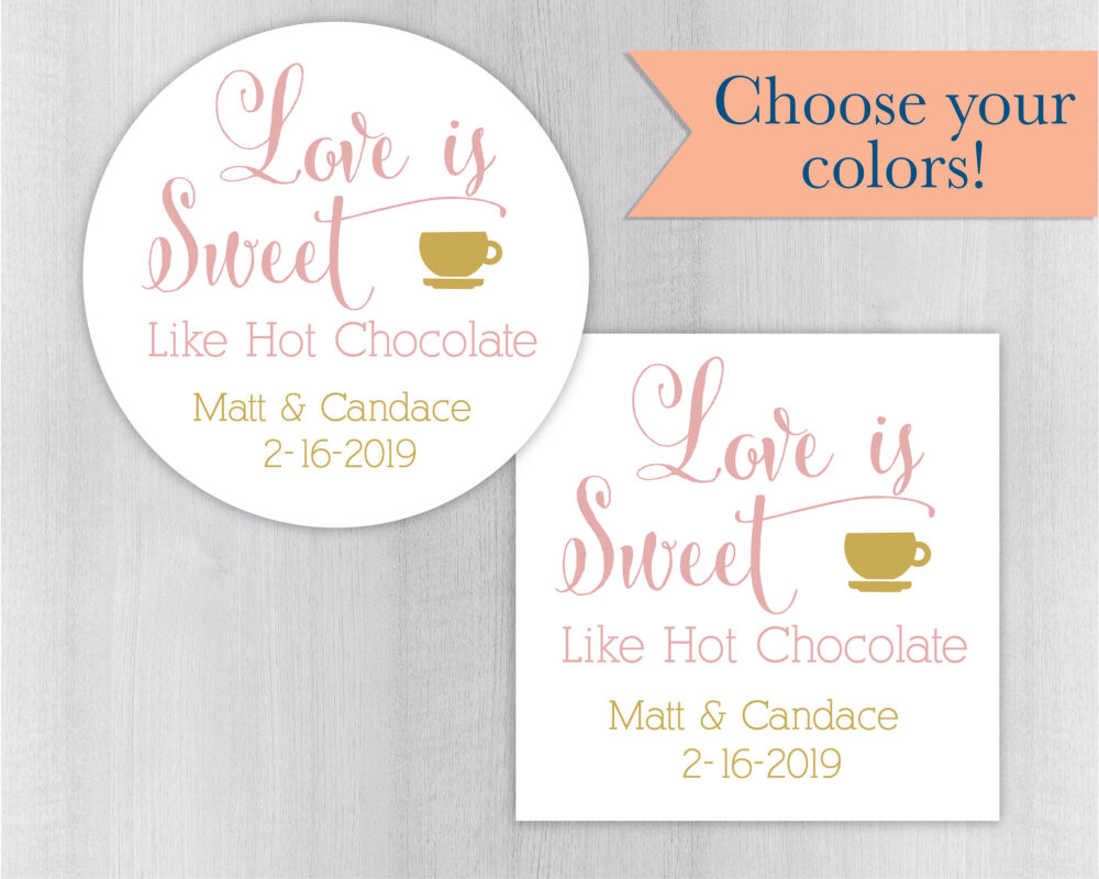 Hot Cocoa Wedding Stickers, Chocolate Favor Labels, Autumn Stickers | #177-Wh