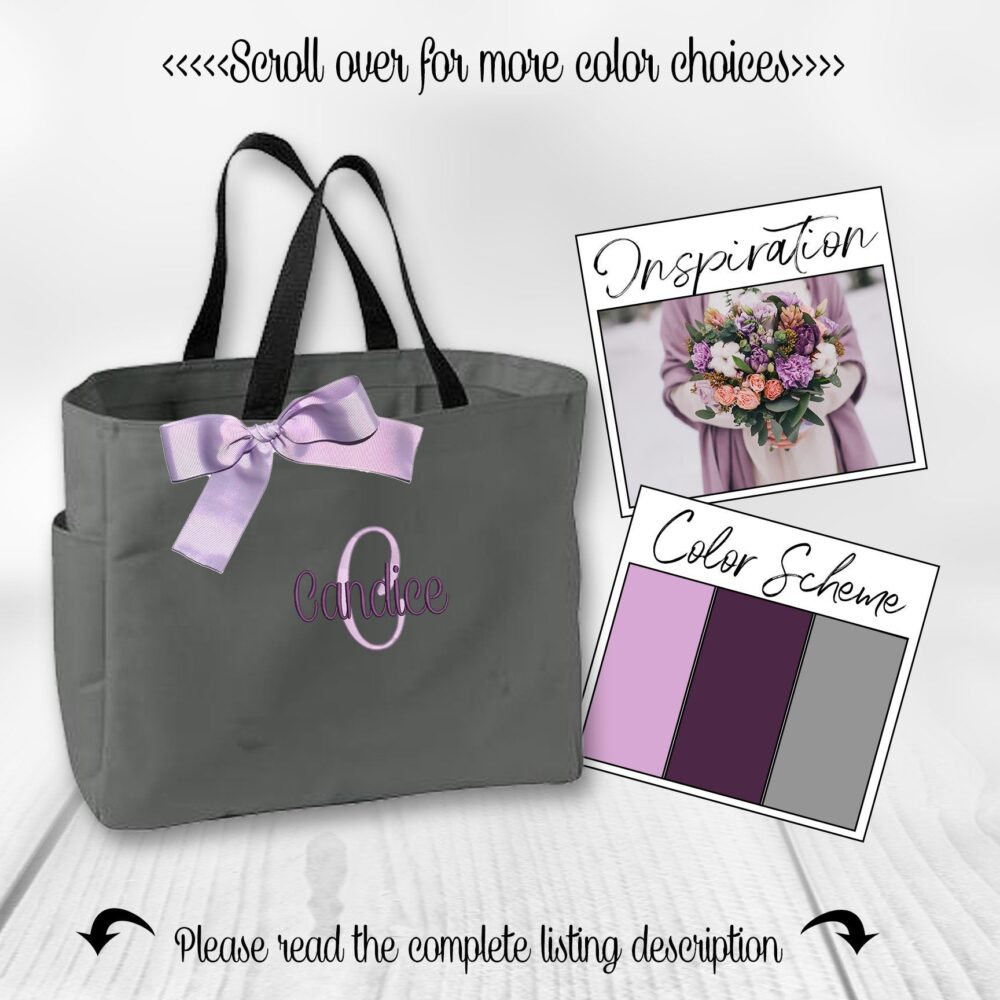 Personalized Bridesmaid Gift Tote Bags, Bridal Party Favors Tote, Monogrammed Bridal Gift, Cheer Bag, Dance | Ess1