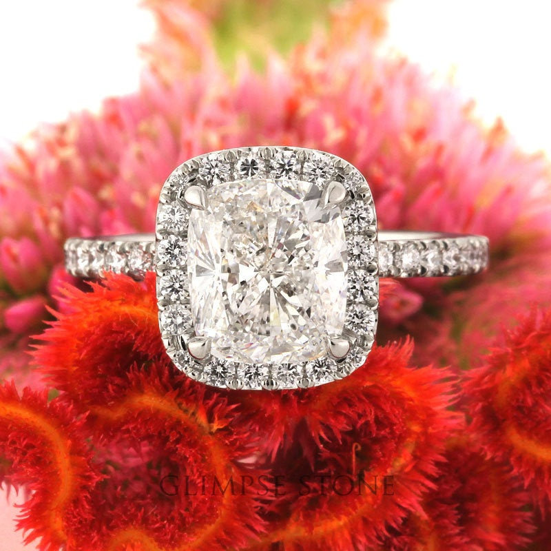 1.0-3.0 Ctw Cushion Engagement Ring/Cushion Moissanite Ring/Solitaire Diamond Ring/4 Prong Halo Ring