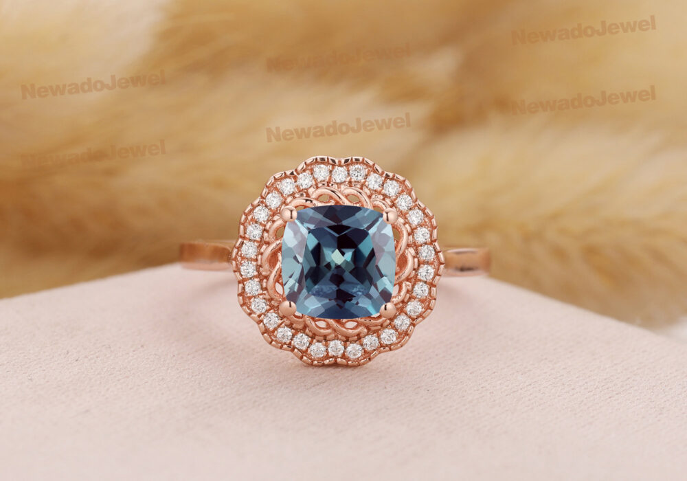 Floral Halo Wedding Ring, 7x7mm Princess Cut Lab Created Alexandrite Vintage Anniversary Solid 14K Rose Gold Engagement Ring