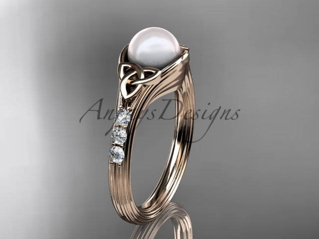 Rose Gold Engagement Ring Celtic Wedding Pearl Diamond Knot Ctp7333