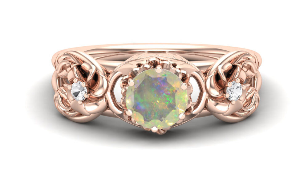 Round Shape Aaa Opal Flower Wedding Ring in 14K Rose Gold Engagement Ring Antique For Women Gift Anniversary
