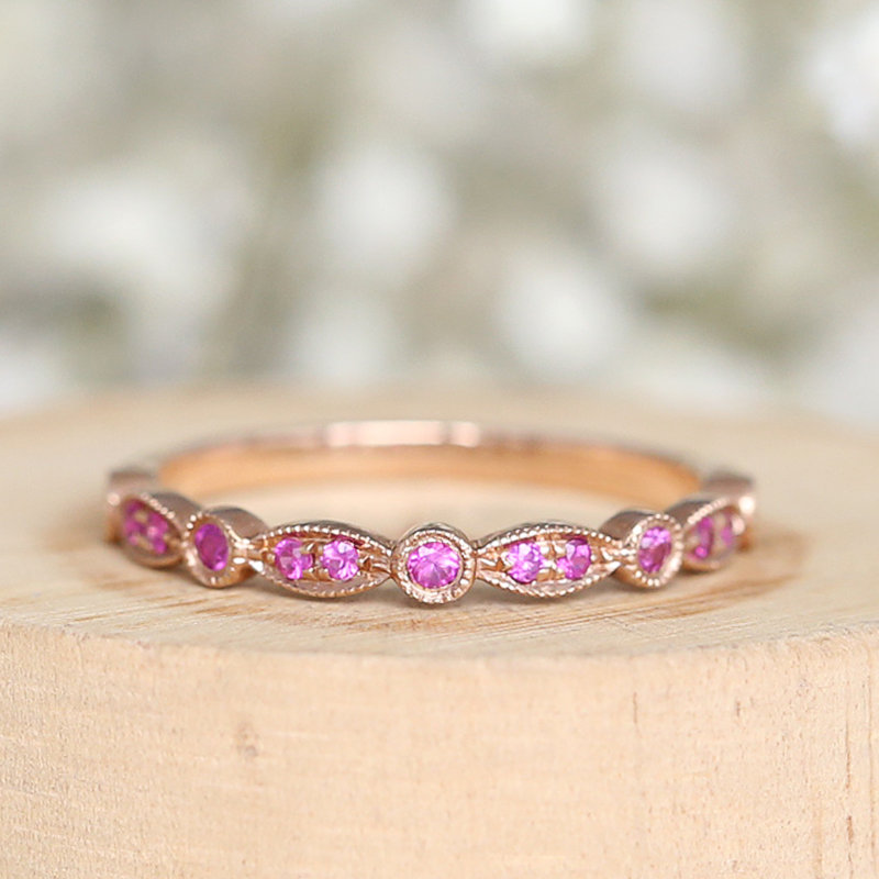 Special Natural Vs Ruby Wedding Band Half Eternity Solid 14K Rose Gold Engagement Ring Anniversary Matching