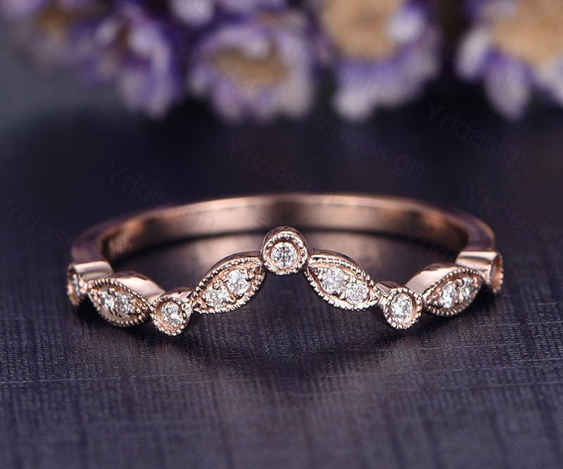 Curved V Wedding Band Solid 14K Rose Gold Engagement Ring Stacking Matching Custom Made Fine Jewelry Marquise Shape Anniversary