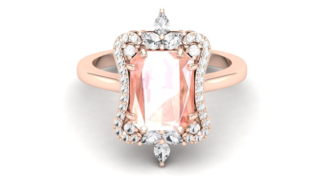 Aaa Morganite Wedding Gold Ring in 14K Rose Gold Engagement Ring & Vintage Art Deco For Women Pear Moissanite Solid