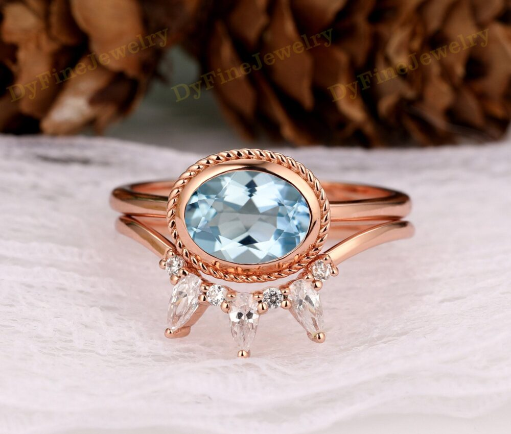 Unique Matching Ring, Moissanite Wedding Band, Oval Cut 8x6mm Aquamarine Women' Promise Gift For Her, Rose Gold Engagement Ring