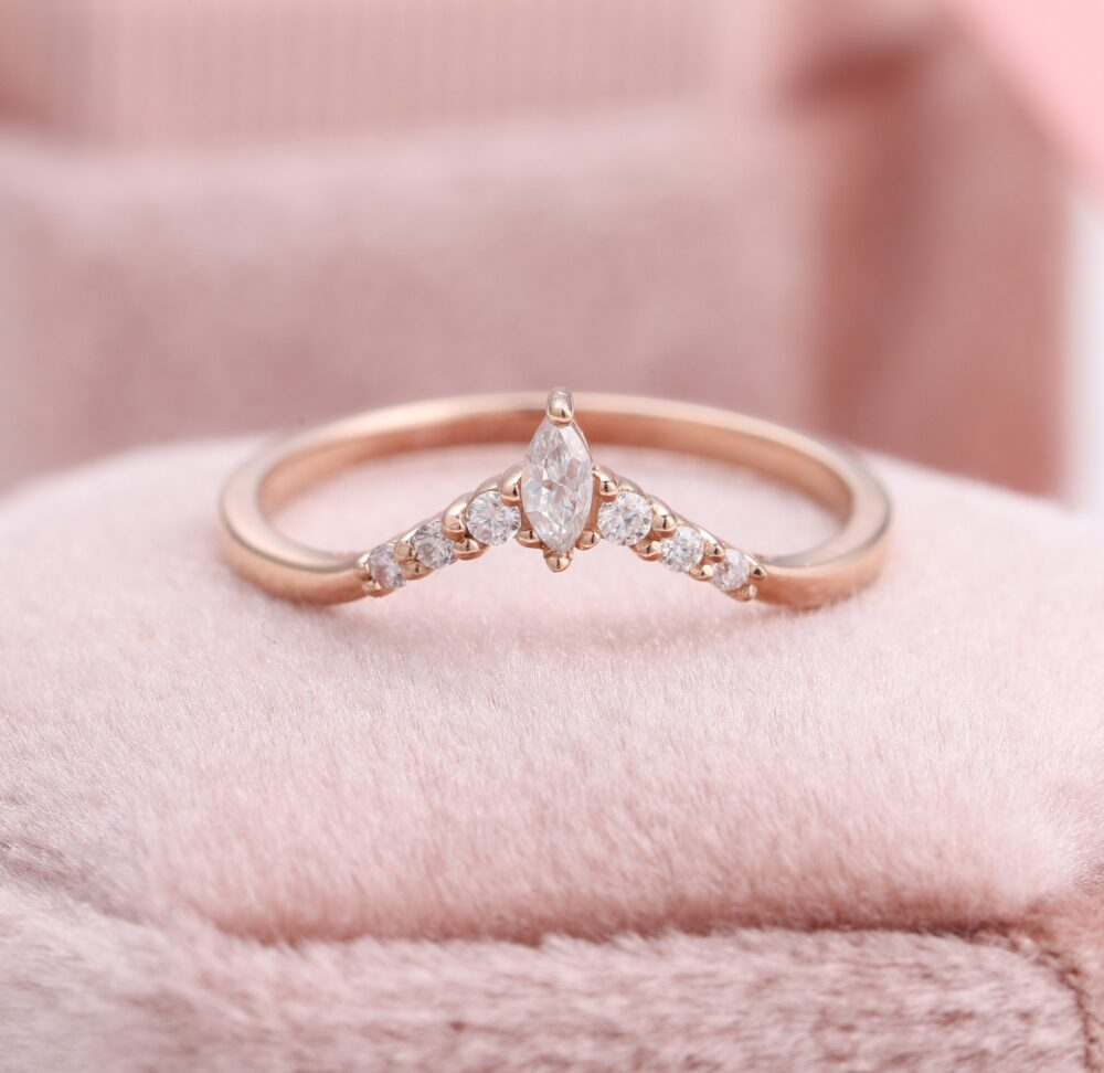 Curved Wedding Band For Halo Ring, Marquise V Shaped Diamond Custom Made Rose Gold Engagement Rings, Engraved Anniversary Rings
