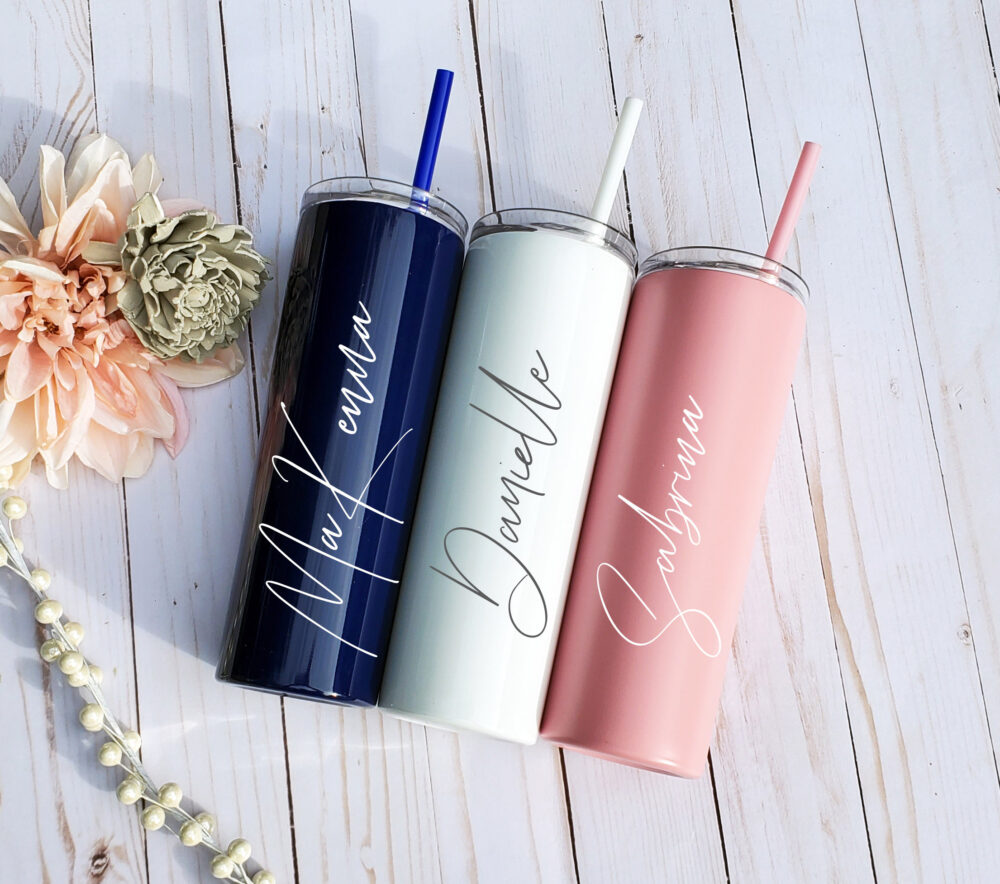 Personalized Tumbler, Wedding Bridesmaid Stainless Steel Bridal Party Gift