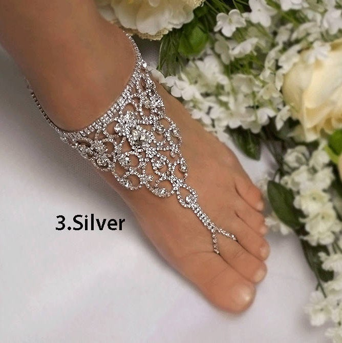 Wedding Barefoot Sandals, Bridal Foot Jewelry, Silver Plated Rhinestone Footless Sandal, Beach Sandals-Sd013