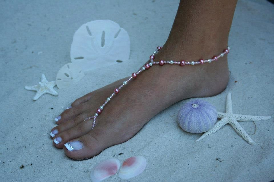 Barefoot Sandal - White With Pink, Wedding Shoes, Bridal Shoes, Beach Wedding, Sandals, Pearl Destination Mermaid