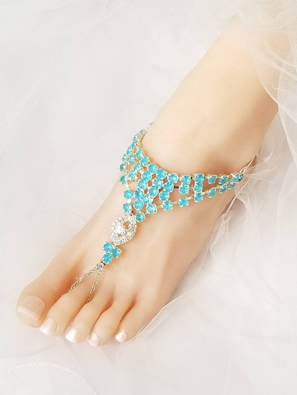 Blue Wedding Barefoot Sandals, Bridal Foot Jewelry, Rhinestone Silver Plated Footless Sandal, Beach Sandals -Sd025