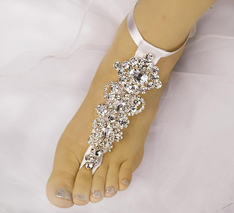 Wedding Barefoot Sandals, Rhinestone Foot Jewelry, Rose Gold Jewelry, Beach Sandals-Sd002
