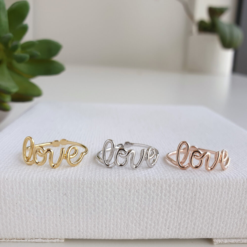Love Ring, Letter Ring Silver Plated Letters Handwritten Handwriting Lettering Adjustable Open