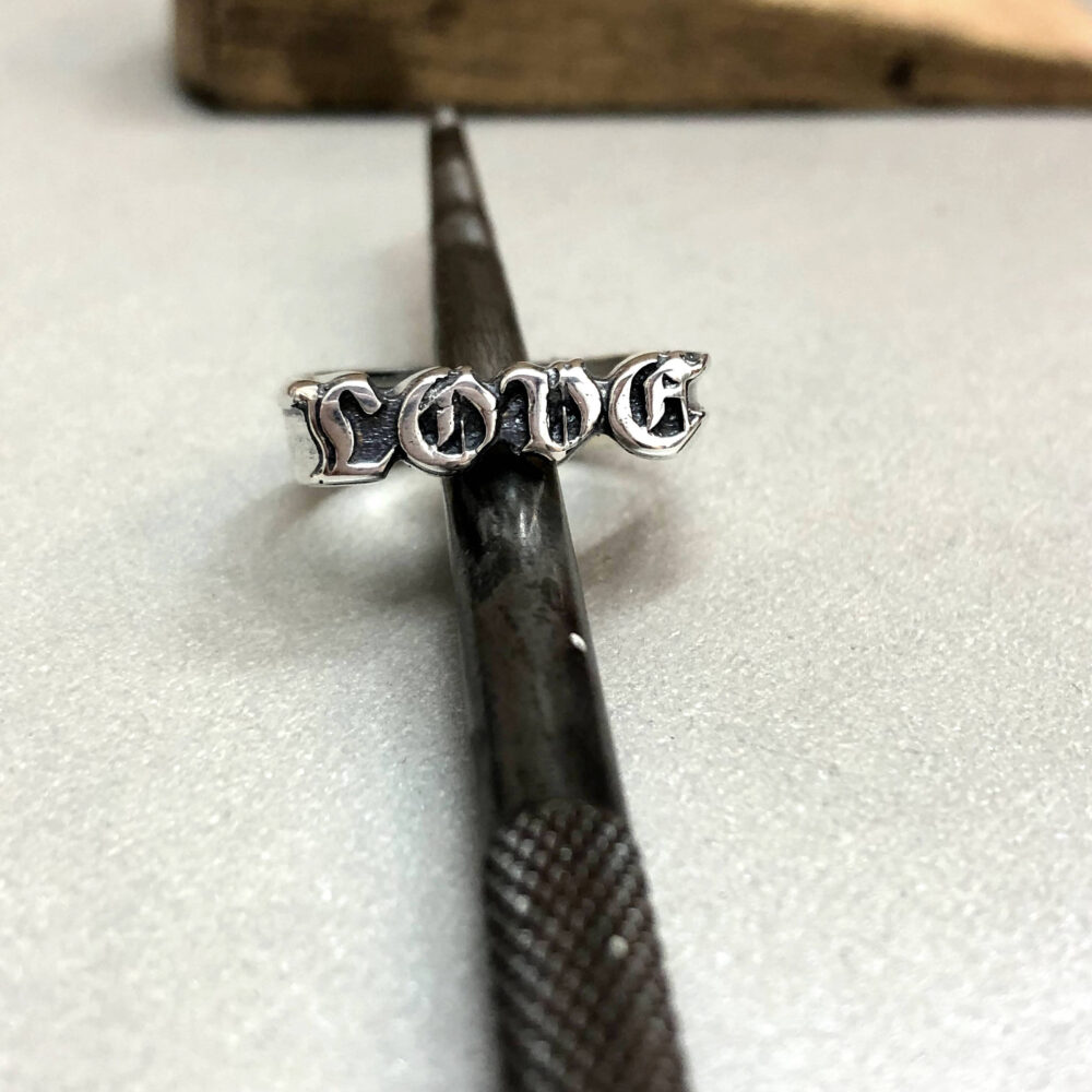 Silver Love Ring, Letters Gothic Custom Made Hand Carved Rings, Ring, Name Ring