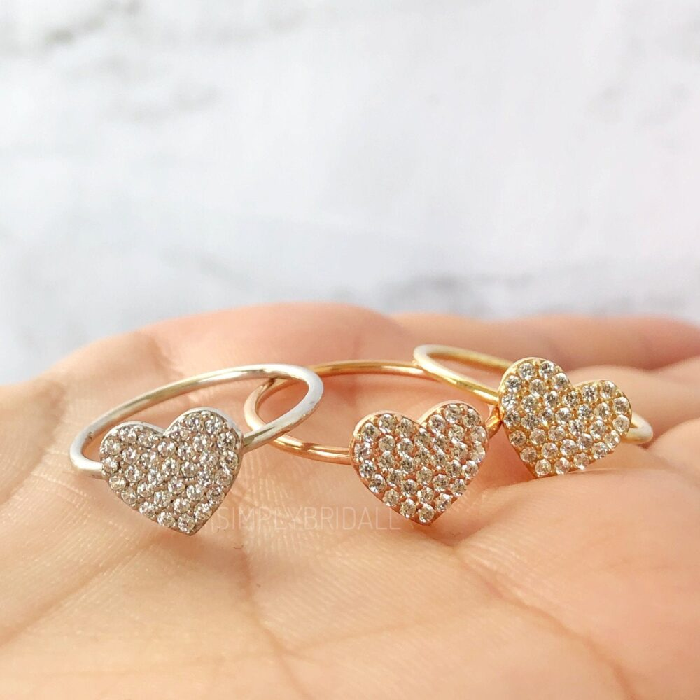 Heart Love Ring Custom Heart Disc Ring Gold Love Anniversary Rose Valentine Micro Pave