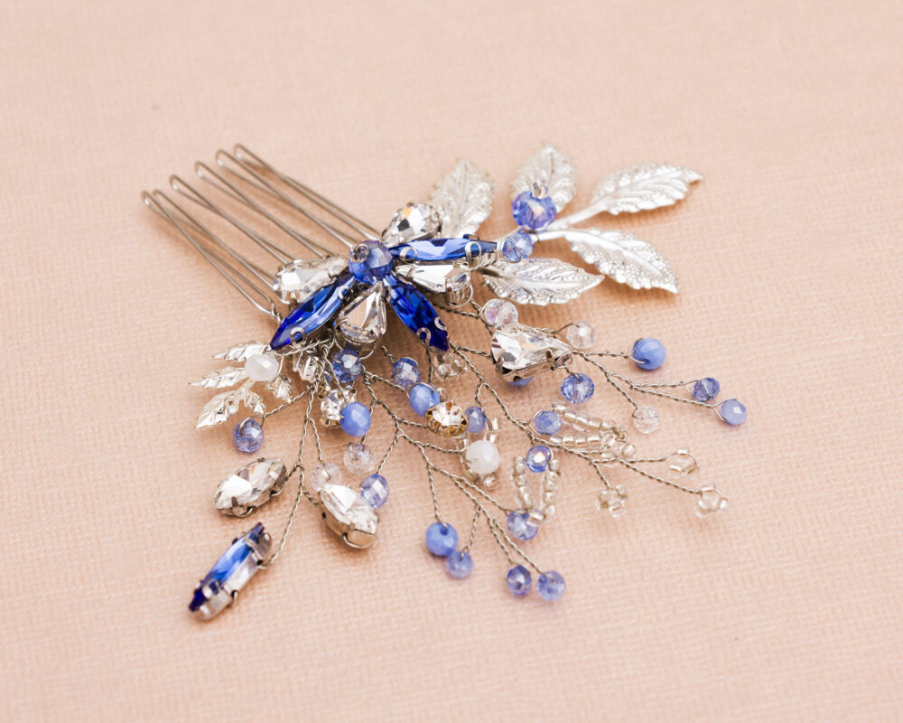 Silver Wedding Hair Comb With Blue Crystals & Pearls