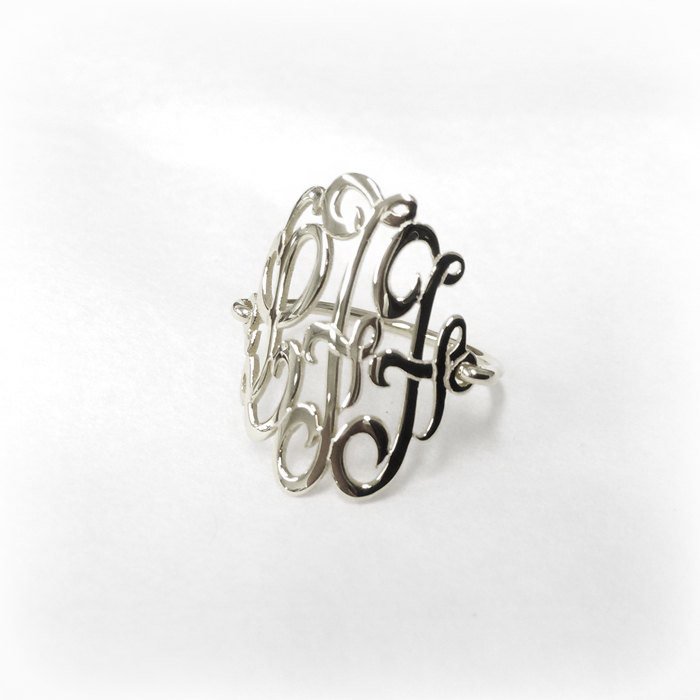 Monogram Ring Silver-Ring With Initials-Monogram Wire Ring-Script Initial Ring-Ring Monogram-Ring Letter-Monogrammed-Three