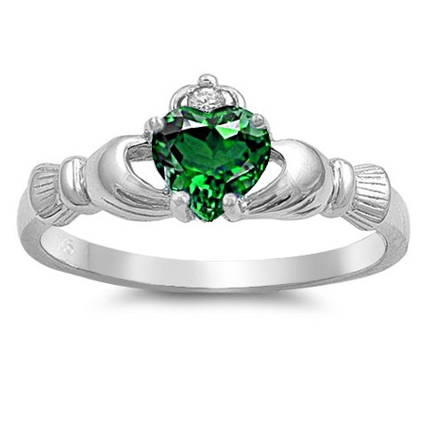 Claddagh Ring, Emerald Cz 925 Sterling Silver Promise Engagement Purity Friendship Ring-Free Shipping