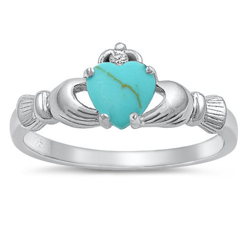 Claddagh Ring, Turquoise Cz 925 Sterling Silver Promise Engagement Purity Friendship Ring-Free Shipping