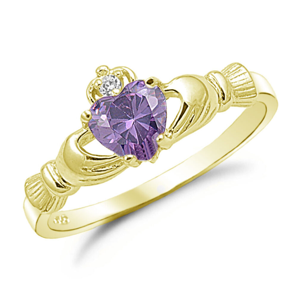 Claddagh Ring, Amethyst Cz Gold Plated 925 Sterling Silver Promise Engagement Purity Friendship Ring