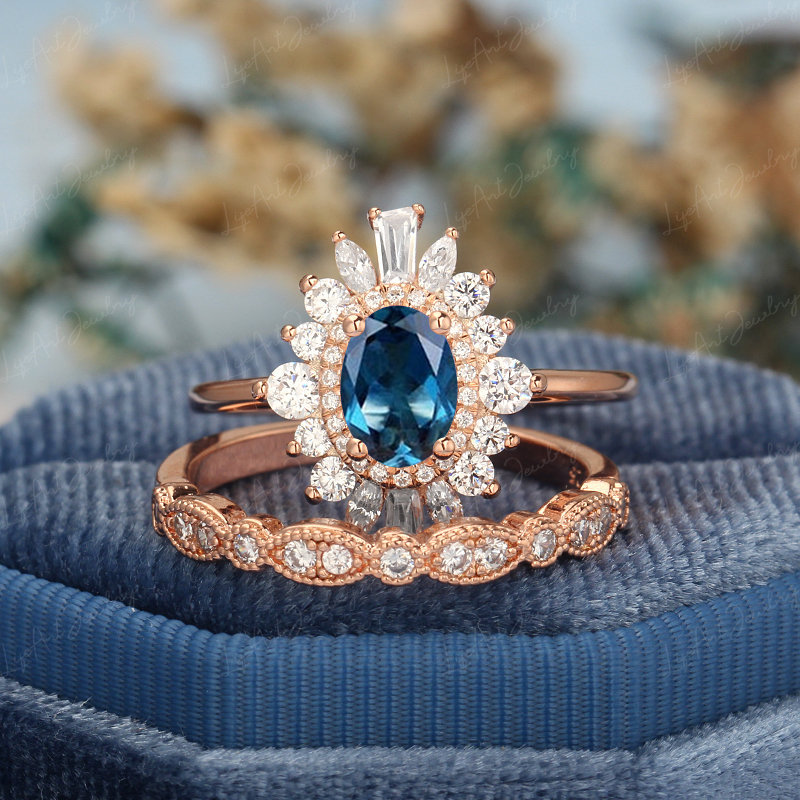 Oval London Blue Topaz Engagement Ring Vintage 14K Rose Gold Unique Marquise Diamond Bridal Anniversary Gift For Women