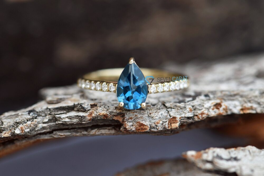 Branch Ring-Unique Engagement Ring-Blue Topaz Ring-Topaz Engagement-Blue Ring Gold-Blue Band Ring-Dainty Promise Ring-Micro Pave